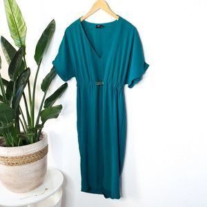 ASOS Teal V Neck Bodycon Belted Party Dress 2
